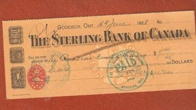 The Sterling Bank Of Canada  Goderich Ontaio  Year 1923