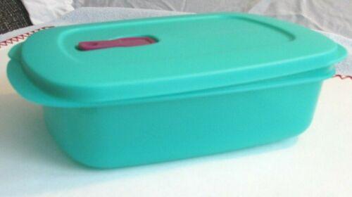 New Tupperware Aqua cyrstal wave rectangular reheatable 4 1/4 c container
