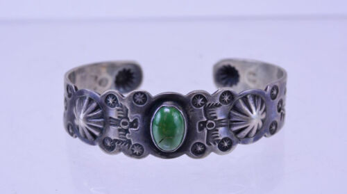 Fine Navajo Pawn Bracelet with Deep Green Oval Turquoise Early Fred Harvey Era