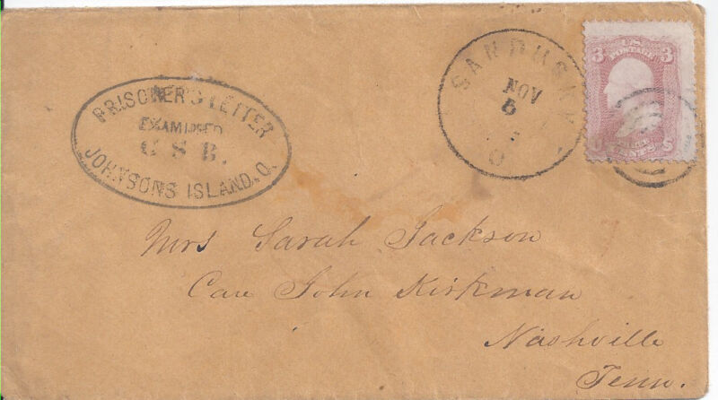 JOHNSONS ISLAND OH CONFEDERATE PRISONER CENSORED COVER COL JAMES JACKSON 27TH AL