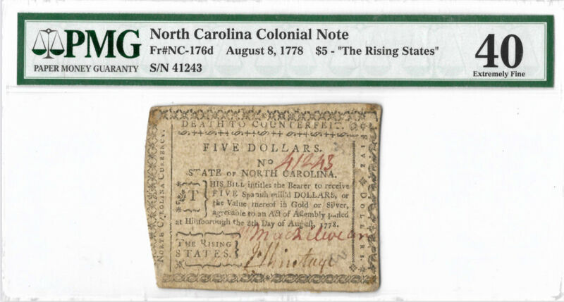 "North Carolina Colonial Note Fr#NC-176d 1778 $5 ""The Rising States"" PMG 40 Rare"