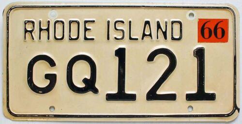 Vintage Rhode Island 1966 License Plate, GQ 121, Nice Quality