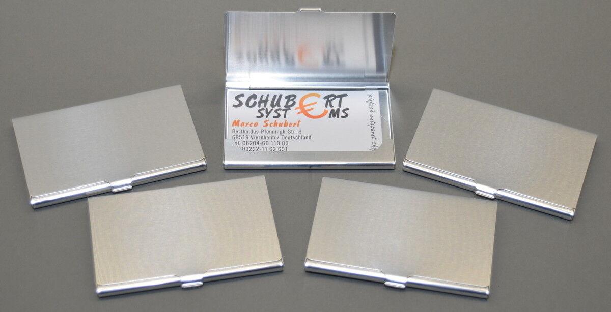 5x Visitenkartenetui aus Aluminium im Hamsterpack, superleicht für 10-15 Karten