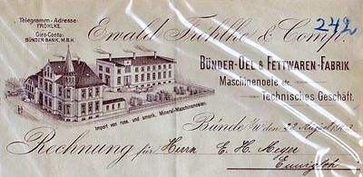 Bünde-Ewald Fröhlke & Co.-Bünder-Oel & Fettwaren Fabrik- Lithographie 1900-Orig.