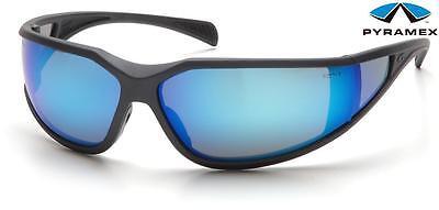 Pyramex Exeter Gray Blue Mirror Anti Fog Lens Safety Glasses Sunglasses Z87.1