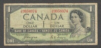1954 DEVIL'S FACE $1.00 BC-29a VG * SCARCE Coyne-Towers Canada 1st DF One Dollar