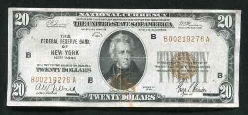 FR. 1870-B 1929 $20 FRBN FEDERAL RESERVE BANK NOTE NEW YORK, NY (E)