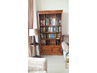 M & S Wooden Bookcase 1.9H x0.96W x0.40D Cupboard at base. £45. (See sep for matching dining table)