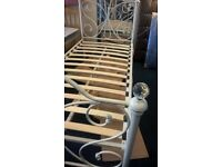 white single metal bed frame with glass knobs as NEW £60 free delivery