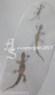 Hotfix Bügelbilder Strass 3 Echsen Salamander Goldtopaz Karostonebox 131007-b