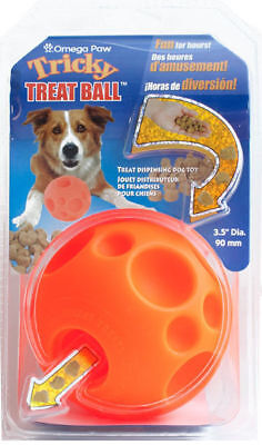 "Omega Paws Tricky Treat Ball Dog Toy Medium >> just add treats! - 3.5"" diameter for sale  USA"