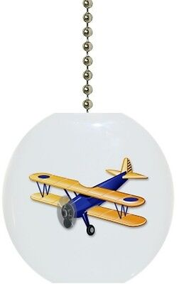 Blue Airplane Solid CERAMIC Ceiling Fan Light Lamp Pull Airplane Ceiling Fan Pull