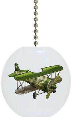 Green AIRPLANE Biplane Solid CERAMIC Ceiling Fan Light Lamp Pull Airplane Ceiling Fan Pull