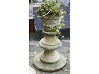 Vintage weathered stone garden planter