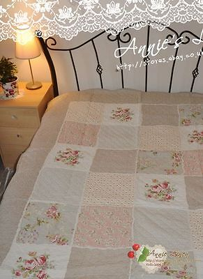 Shabby Natural Patchwork Laura Ashley Fabric Single/Double Bed Throw/Blanket
