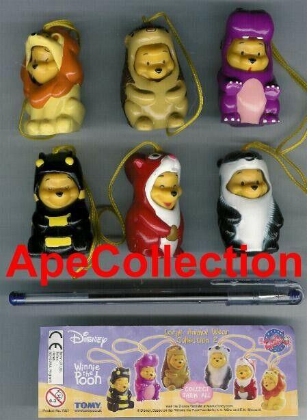 TOMY Set 6 Figures Winnie Pooh Animal Wear Large Part 2 Mini Peek IN