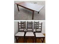 Large Ikea Extending Table & 6 Kausby Solid Wood Chairs Black / Brown FREE DELIVERY 255