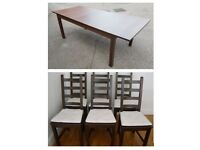Large Ikea Extending Table & 6 Kausby Solid Wood Chairs Black / Brown FREE DELIVERY 058