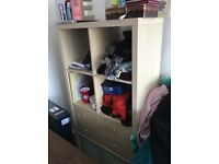 IKEA birch effect Kallax with drawers and storage boxes