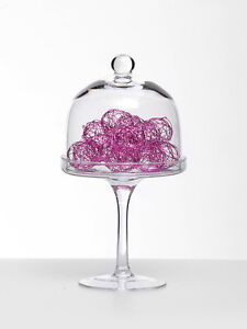 ❤Glass Dome Tall Cake Stand❤Wedding Table Vintage Candy Bar Sweet Vase 23cm❤