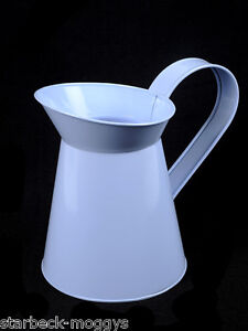 PALE BLUE VINTAGE SHABBY METAL JUG PITCHER VASE CHIC WEDDING TABLE DECORATION