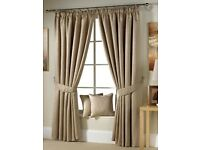 Gold Pencil Pleat Curtains - Brand New