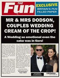"""Personalised """"THE FUN"""" wedding spoof newspaper"""
