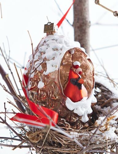 Red Cardinal Bird in Pine Cone Glass Ornament  Eric Cortina New Christmas