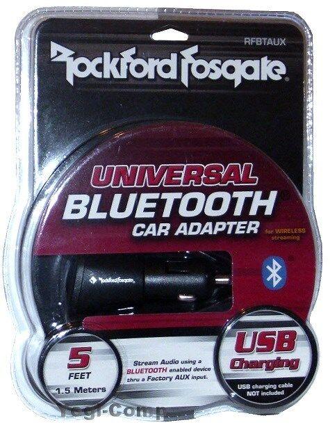 Rockford Fosgate RFBTAUX Universal BLUETOOTH Wireless Car Adapter + USB Charging