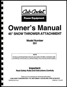 cub cadet 45 quot  snow thrower attachment owners manual model cub cadet snow blower manuals cub cadet snow blower manual 109-032