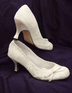 WHITE-SATIN-LACE-Vintage-Style-Bridal-Wedding-Shoes-Brand-new-all-sizes