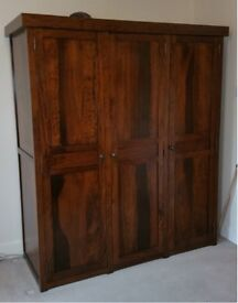 Solid wood 3 door wardrobe with shaker style doors