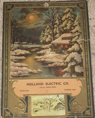 1941 HOLLAND ELECTRIC CO ANAHEIM CALIFORNIA VINTAGE CALENDAR WWII ERA