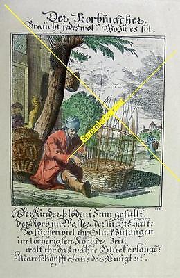Alter kolorierter Stich Berufe: Der Korbmacher (20136)