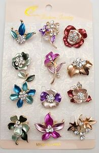 12Px wholesale lot flower brooches mixed colors designs brooch pins