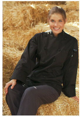 Chefs Coat Knotted Cotton Buttons (Black Chef Coat, 100% Cotton, Knot Buttons, Long Sleeve, Size: XL - 425 )