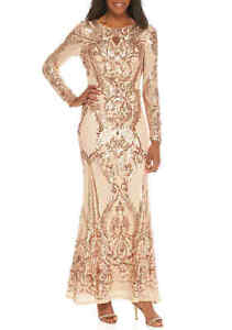 Betsy & Adam Size 2 Long Sleeve Rose Gold Evening Gown