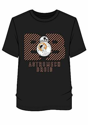 BRAND NEW MEN'S STAR WARS 'BB-8 ASTROMECH DROID' BLACK T-SHIRT SIZES: S up to XL