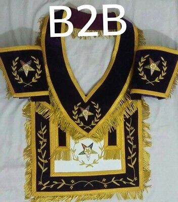 Associate Patron Apron Hand Embroidered With Collar   Cuffs B2b