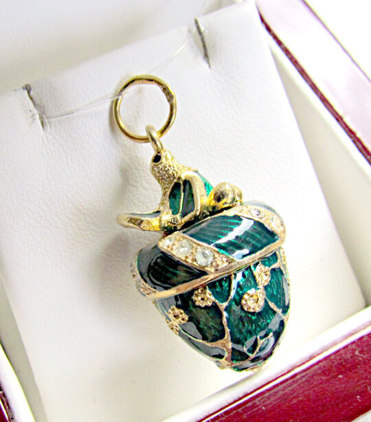 ONE OF A KIND MADE SOLID STERLING SILVER 925 & 24K GOLD EGG PENDANT WITH TURKEY
