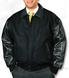 Men's WOOL & LEATHER Letterman Jacket - Professional Style - Reg, Big, Tall Szs.