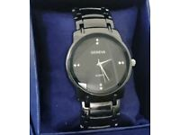 Men's Shimmer Black Geneva Watch *excellent condition*