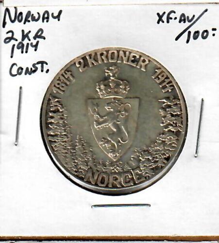 Norway 1914 2 Kroner XF+