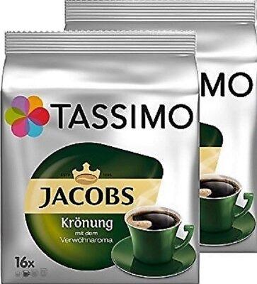 2 x Packs Tassimo Jacobs Krönung T Discs Pods - 32 T Discs 32 Drinks Kronung