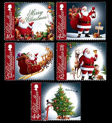 Weihnachten Set von 5 MNH Briefmarken 2012 Gibraltar #1359-63 Santa Schlitten ()