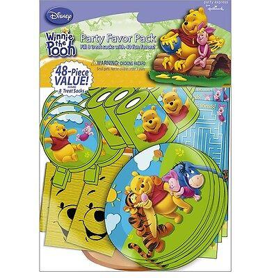 Disney Winnie the Pooh ~48 PIECE PARTY FAVOR PACK & treat Sacks~Birthday Supply