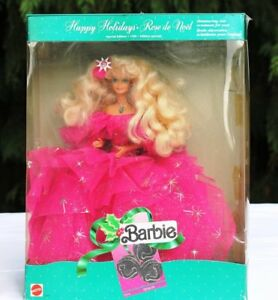 1990 Vintage Happy Holidays Barbie Doll Special Edition