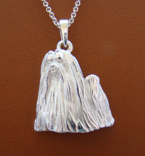 Large Sterling Silver Maltese Standing Study Pendant