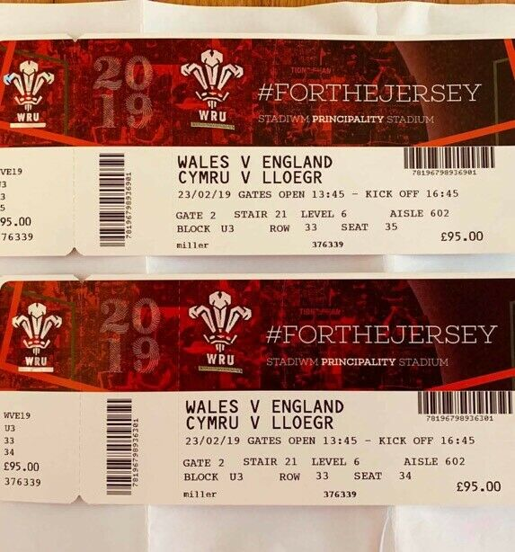 2 x Wales v England six nations tickets   in Hamilton, Leicestershire    Gumtree