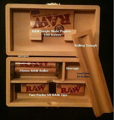 Rolling Tray Storage Stash Box and 100 RAW Single Wide Papers & Tips +RAW Roller